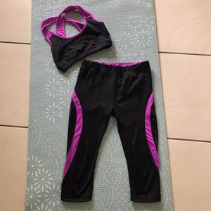 Black/pink activewear crop and tights  Size 8